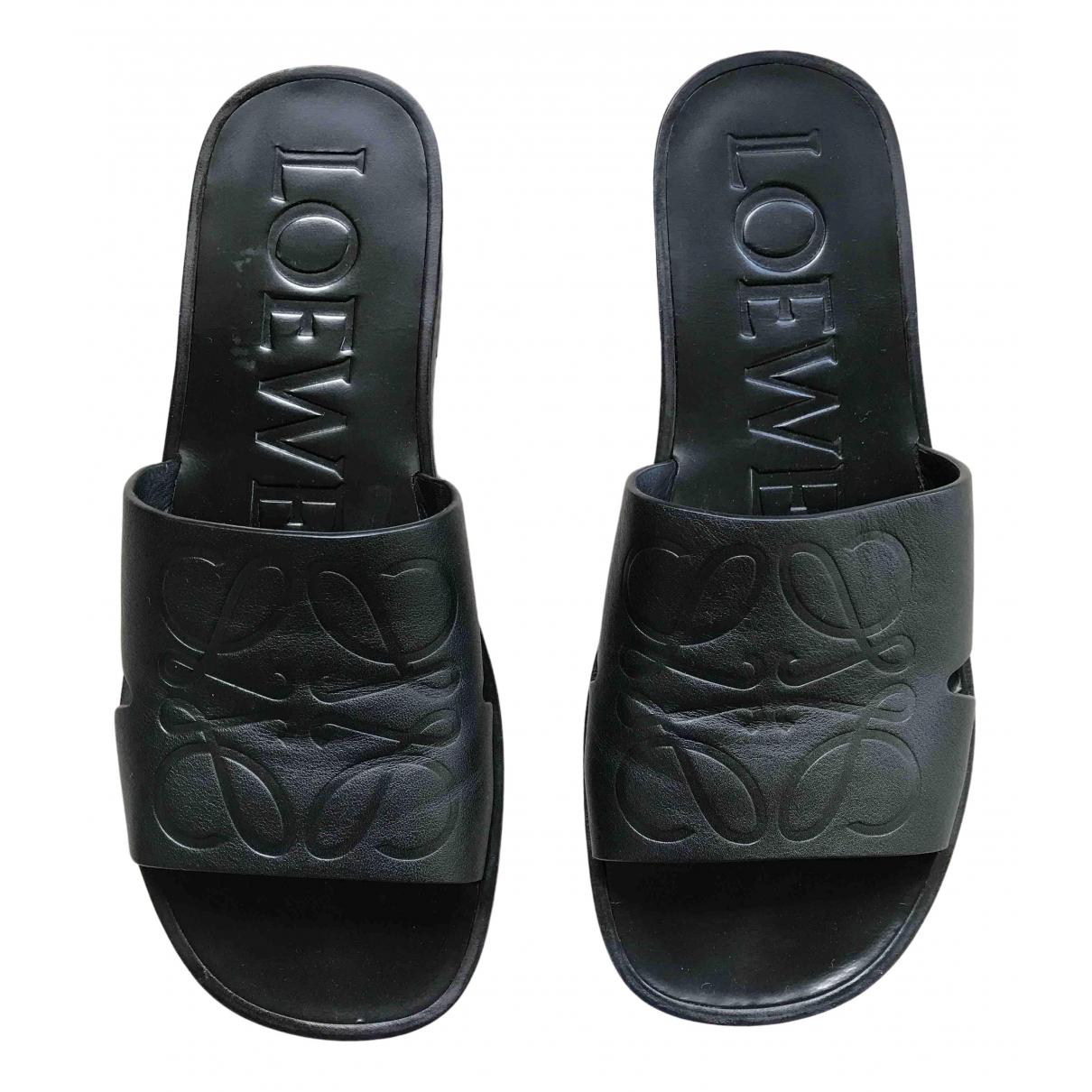 Loewe \N Sandalen in  Schwarz Leder