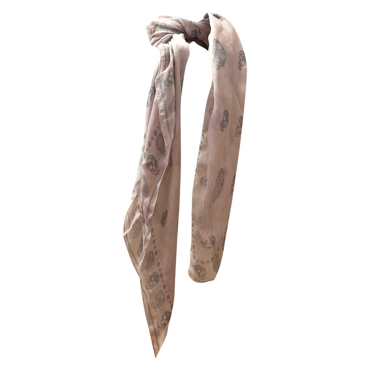Alexander Mcqueen - Carre   pour femme en soie - rose