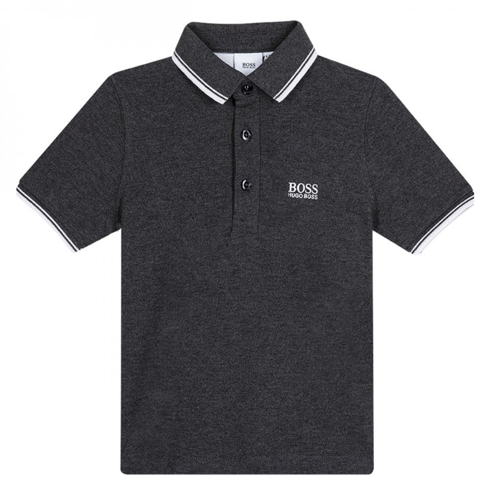 Hugo Boss Kids Collar Trim Polo Colour: GREY, Size: 6 YEARS