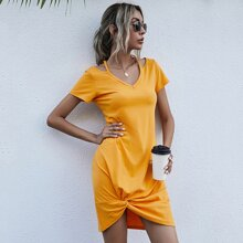 Solid Twist Front Cut Out Dress