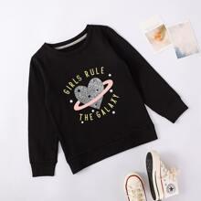 Girls Heart & Slogan Graphic Sweatshirt