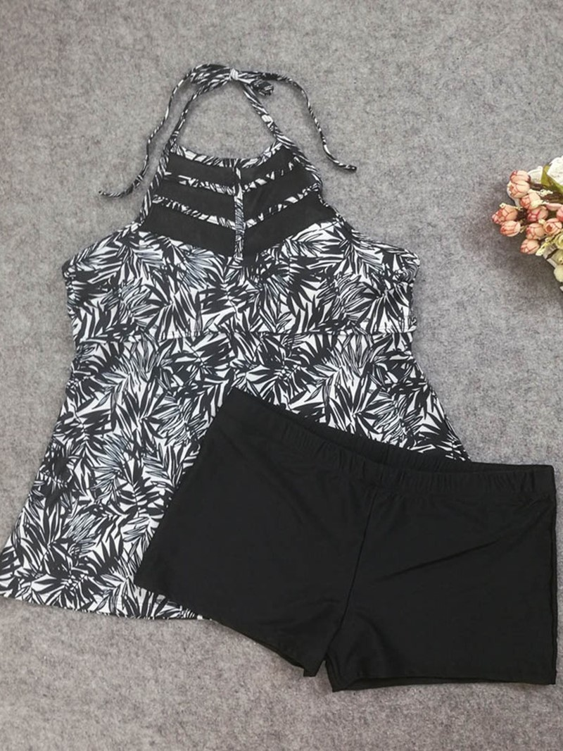 Ericdress Lace-Up Plant Beach Look Plus Size Swimwear