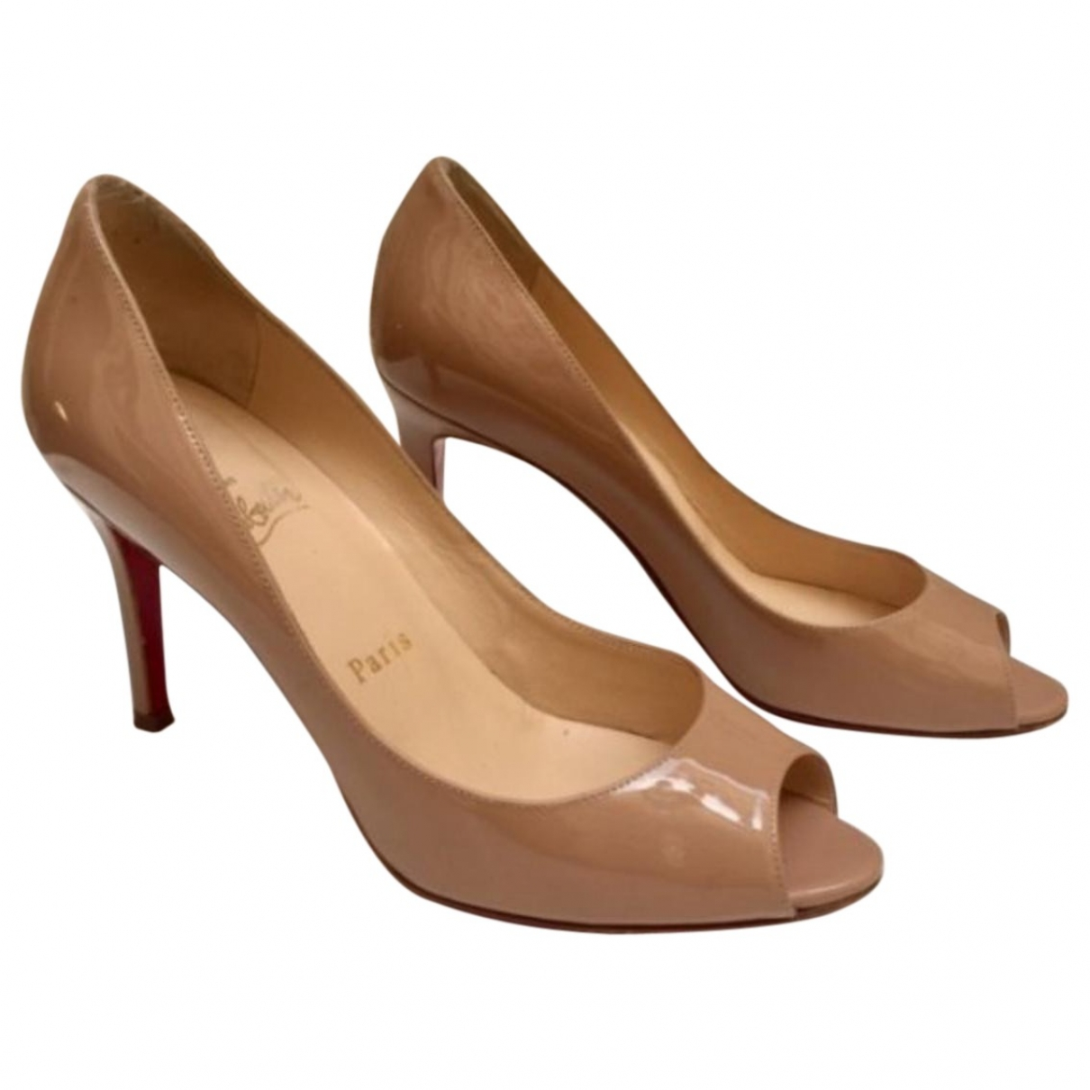 Christian Louboutin Private Number Beige Patent leather Heels for Women 36 EU
