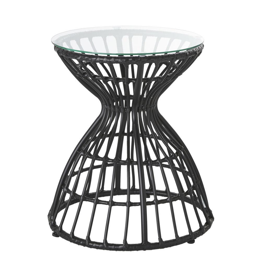 Beistelltisch aus perforiertem schwarzem Metall und Glas