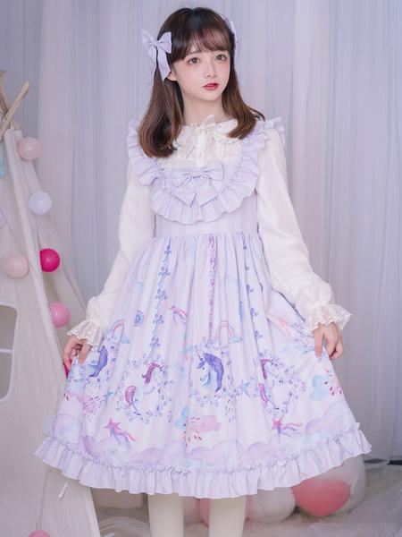 Milanoo Sweet Lolita JSK Dress Carousel Bow Ruffle Lilac Lolita Jumper Skirt