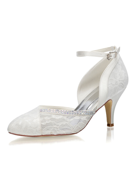 Milanoo Zapatos de novia de saten Zapatos de Fiesta de tacon de stiletto Zapatos Marfil Zapatos de boda de puntera puntiaguada 7.5cm con pedreria