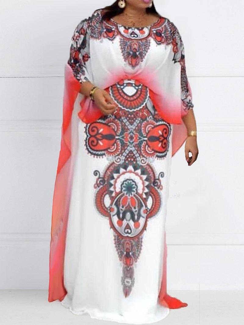 Ericdress Round Neck Three-Quarter Sleeve Floor-Length Pullover Elegant Dress