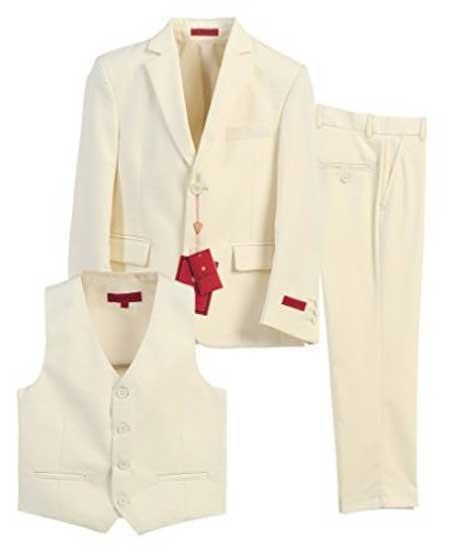 Boys Formal 3 Piece Notch Lapel Off White Vested Suit With Pants Set