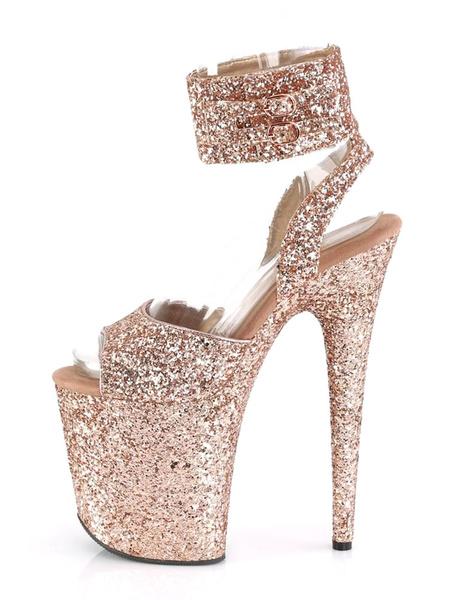 Milanoo High Heel Sexy Sandals Hazel PU Leather Peep Toe Stiletto Sexy Shoes