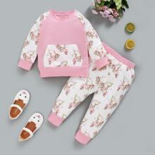 Sweatshirt mit Blumen Muster und Kaenguru Taschen & Jogginghose
