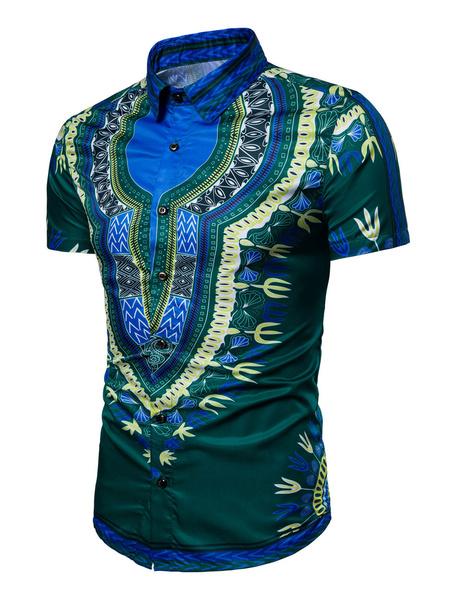 Milanoo Camisas casuales de algodon mezclado de cuello vuelto con manga corta con estampado con botones estilo modernoVerano