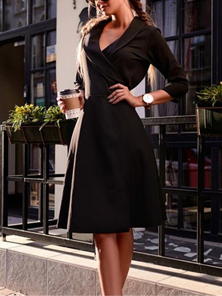 Yoins Tie-up Design Deep V Neck Midi Dress