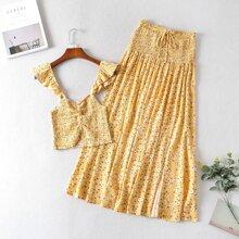 Outfit de dos piezas Volante floral de margarita Amarillo Bohemio