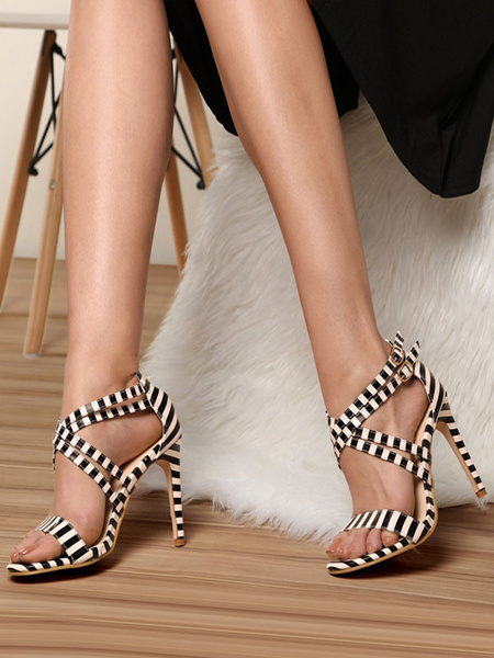 Milanoo High Heel Sandals Womens Striped Criss Cross Open Toe Stiletto Heel Sandals