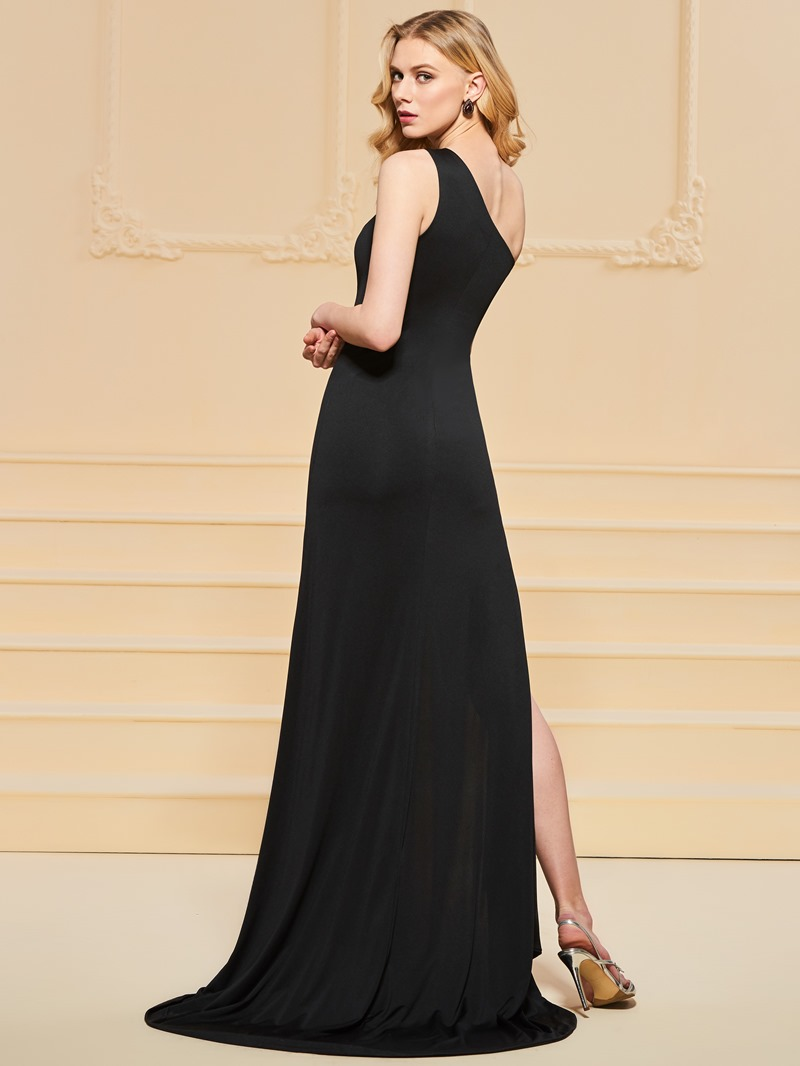 Ericdress One Shoulder Sheath Split-Front Black Evening Dress
