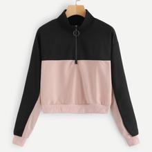 Contrast Panel Half Zip Sweatshirt