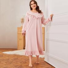 Plus Lace and Ruffle Trim Button Front Nightdress