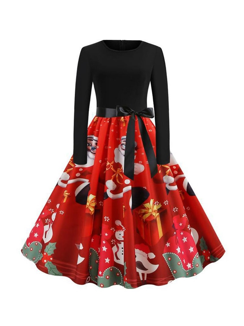 Ericdress Christmas Pattern Round Neck Patchwork Long Sleeve Party/Cocktail Cartoon Dress