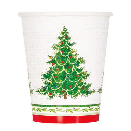 Classic Christmas Tree Party Paper Cups for Holiday Home Decor, 9 oz, 8ct