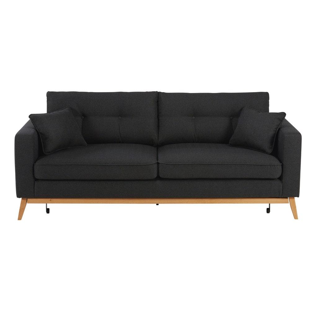 Skandinavisches ausziehbares 3-Sitzer-Sofa aus anthrazitfarbenem Stoff Brooke