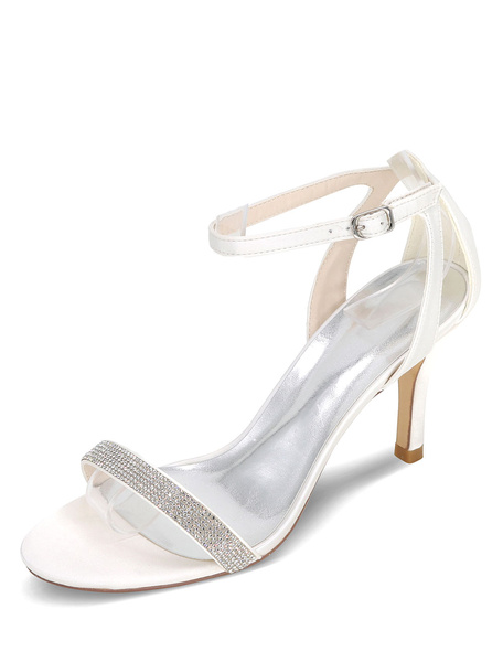 Milanoo Silver Wedding Sandals High Heel Rhinestones Satin Bridal Shoes