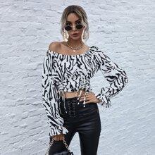 Schulterfreie Bluse mit Zebra Streifen, Schosschenaermeln und Ruesche