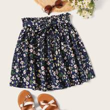 Plus Ditsy Floral Paperbag Waist Belted Skirt