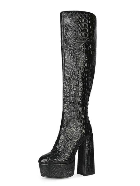 Milanoo Botas hasta la rodilla Botas de tacon grueso con punta redonda negra Piel de serpiente Botas de cuero hasta la rodilla