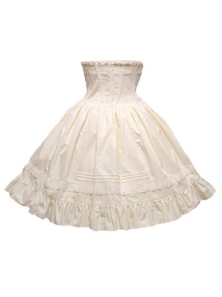 Milanoo Classic Lolita Skirt SK Cotton Ruffles Two Tone High Rise Lolita Skirt