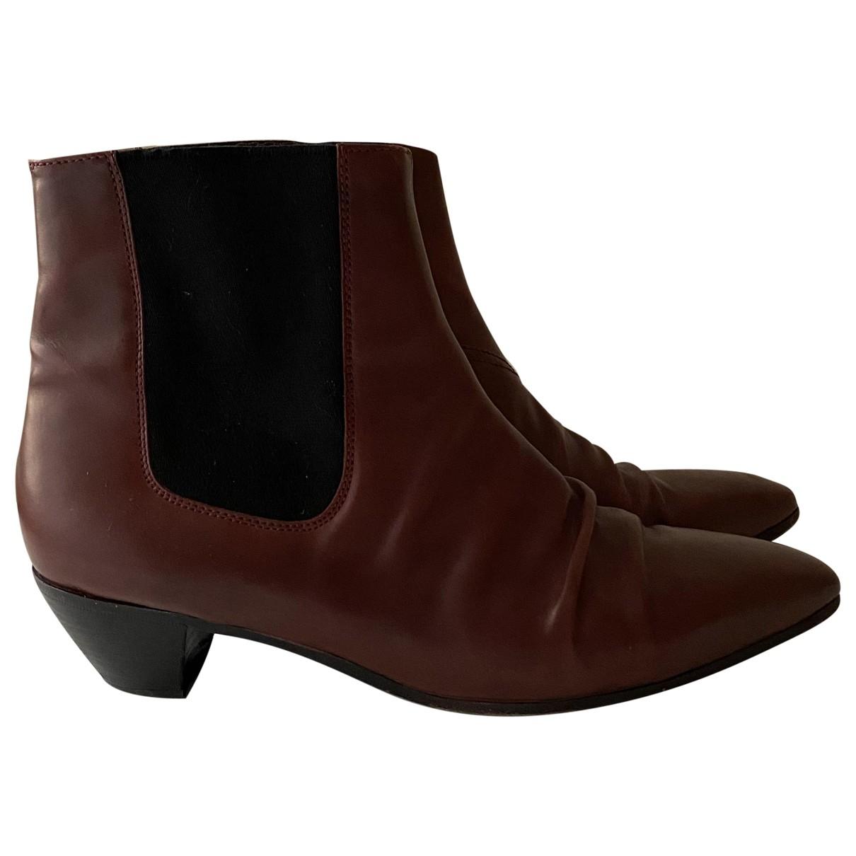 Celine - Boots   pour femme en cuir - bordeaux