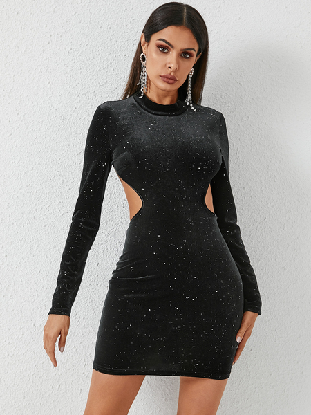 YOINS Black Glitter Cut Out Backless Design Long Sleeves Dress