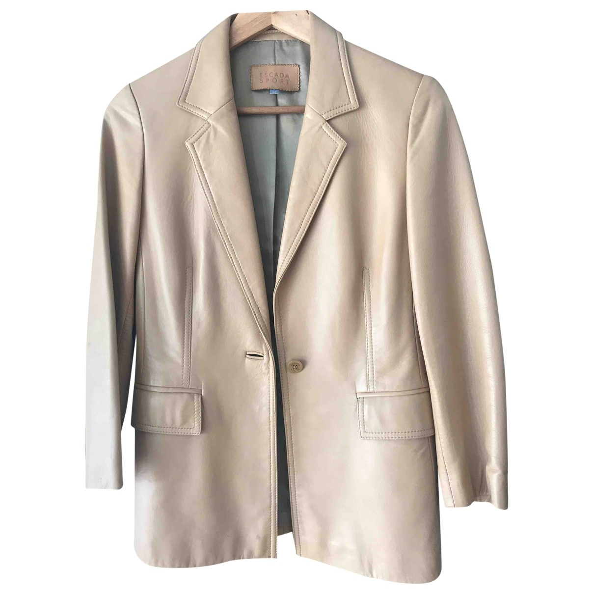 Escada \N Beige Leather Leather jacket for Women 34 FR