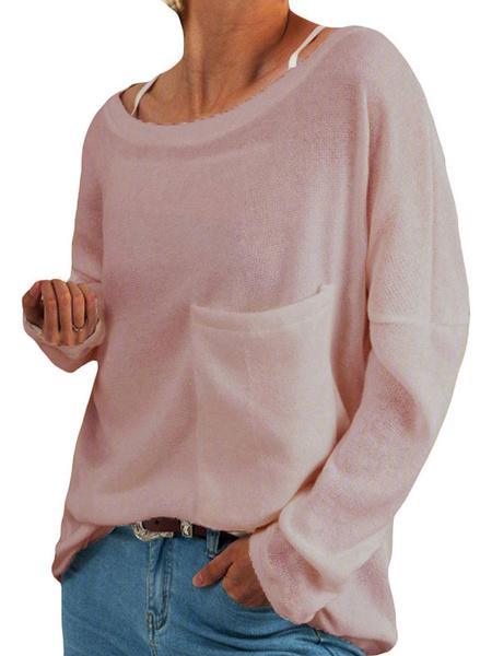 Milanoo Camisetas negras de manga larga con cuello joya para mujer