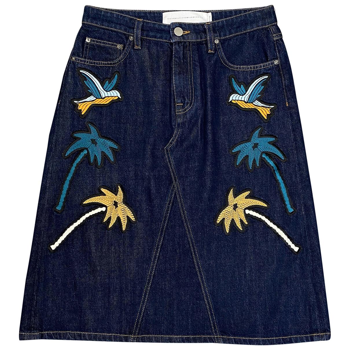Victoria Beckham - Jupe   pour femme en denim - bleu