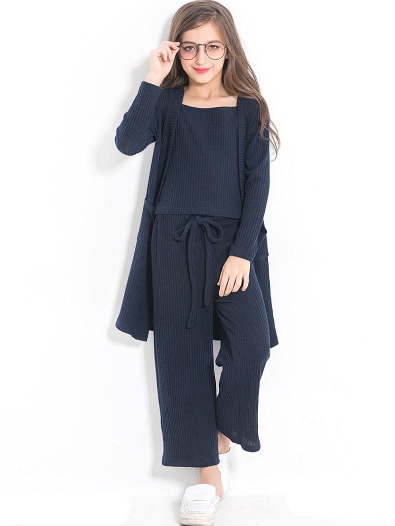 Ericdress Plain Slash Neck Long Sleeve & Pants 3-Pcs Girl's Outfit