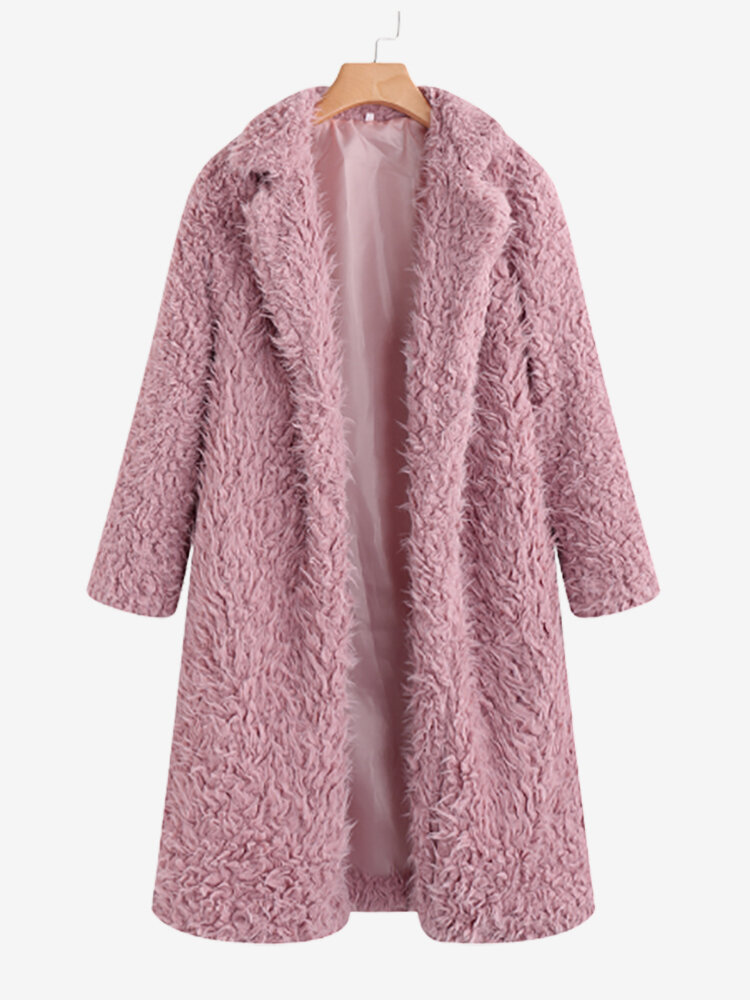 Teddy Faux Fur Solid Color Turn Down Collar Long Coat