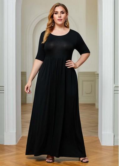 Plus Size Half Sleeve Round Neck Pocket Dress - 4XL