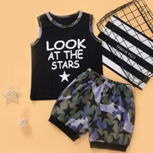 Tank Top mit Buchstaben Grafik und Shorts mit Stern Muster