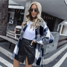 Plaid Print Popper Front Belted Overcoat