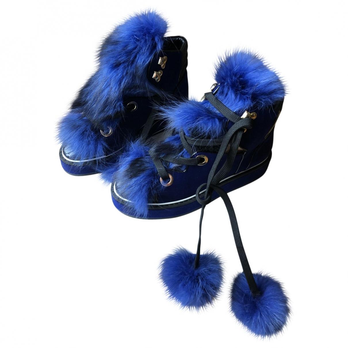 Nicholas Kirkwood - Boots   pour femme en velours - bleu