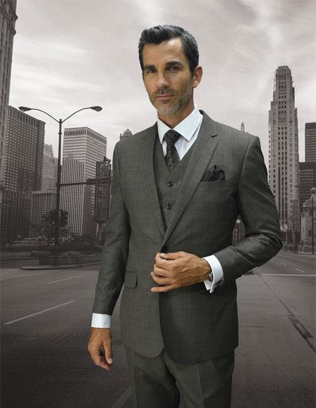 Men's Statement Plaid Taupe 2 Button Double Breasted Vest Suit