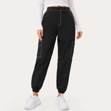Contrast Stitching Cargo Pants