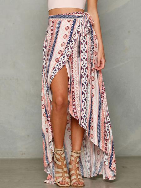Milanoo Boho Summer Skirt Chiffon Striped High Low Soft Pink Maxi Skirt