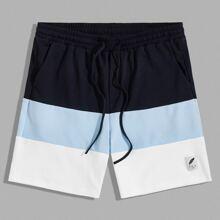 Men Patched Detail Colorblock Sweat Shorts