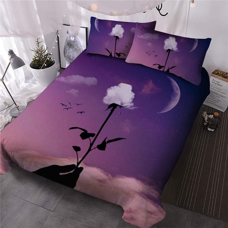 Creative Rose Comforter Set Hand Wash Galaxy Three-Piece Set Reactive Printing Polyester Bedding Sets 2 Pillowcases