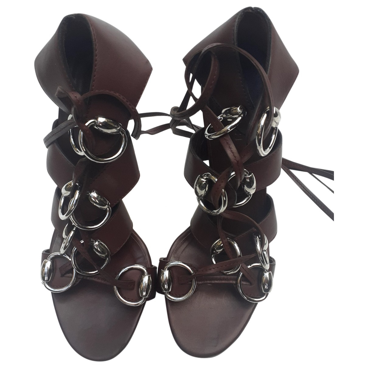Gucci N Brown Leather Sandals for Women 37 IT