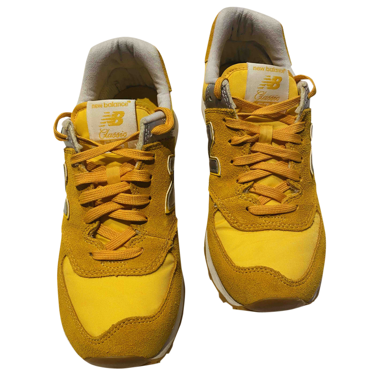 New Balance - Baskets   pour homme en cuir - jaune