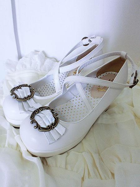 Milanoo Zapatos de Lolita clasica cinta arco Lolita Plaza grueso tacones zapatos con tobillera