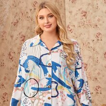 Bluse mit Grafik Muster und sehr tief angesetzter Schulterpartie