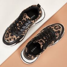 Leopard Print Lace-up Chunky Sneakers
